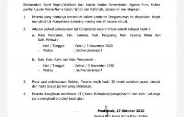Jadwal Uji Kompetensi Tahap II Hafizh dan Hafizhah Provinsi Kalimantan Barat.